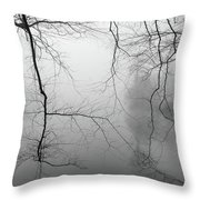 Branches In The Morning Mist Throw Pillow