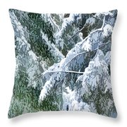 Branches In Winter Season With Fresh Fallen Snow Throw Pillow