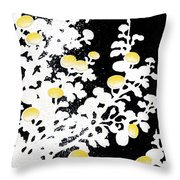 Branches Of White Yellow Leaves And Flowers At Night, Black Background Throw Pillow
