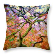Branching Out In Autumn Neon Throw Pillow