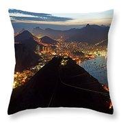Brasil,rio De Janeiro,pao De Acucar,viewpoint,panoramic View,copacabana At Night Throw Pillow