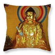 Brass Buddha Emei Throw Pillow
