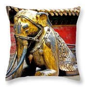 Brass Elephant Throw Pillow