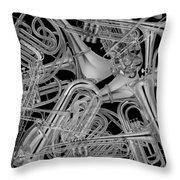 Brass Instruments Bw Throw Pillow