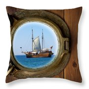 Brass Porthole Throw Pillow