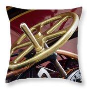 Brass Steering Wheel Throw Pillow