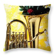 Brass Tuba With Red Roses Throw Pillow