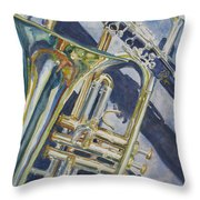 Brass Winds And Shadow Throw Pillow