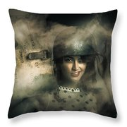 Brave Army Pinup Throw Pillow
