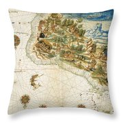 Brazil: Map And Native Indians Throw Pillow