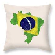 Brazil Map Art With Flag Design Throw Pillow