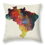 Brazil Watercolor Map Throw Pillow