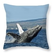 Breach Near Maui I Throw Pillow