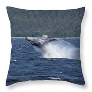 Breaching Whale Paint Throw Pillow