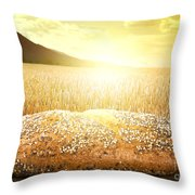 Bread And Wheat Cereal Crops At Sunset Throw Pillow