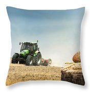 Bread And Wheat Cereal Crops.traktor On The Background Throw Pillow