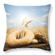Bread And Wheat Ears. Throw Pillow by Deyan Georgiev