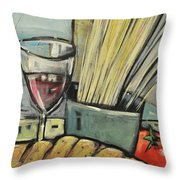 Bread Pasta Wine Throw Pillow by Tim Nyberg