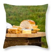 Bread With Butter On Cutting Board Throw Pillow