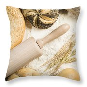 Breads. Pile Of Flour, Rolling Pin And Wheat Throw Pillow by Deyan Georgiev
