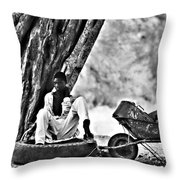 Break From The African Sun Black And White Throw Pillow