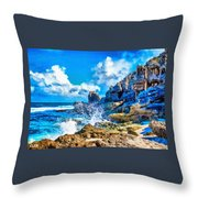 Breakers On The Rocks At Kenridgeview - On - Sea L A S Throw Pillow