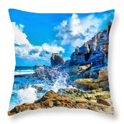 Breakers On The Rocks At Kenridgeview - On - Sea L B Throw Pillow