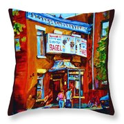Breakfast At The Bagel Cafe Throw Pillow