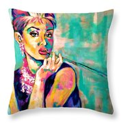 Audrey Hepburn Painting, Breakfast At Tiffany's Throw Pillow