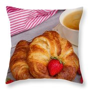 Breakfast With Croissants Throw Pillow