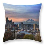 Breaking Dawn In Seattle Throw Pillow