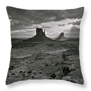 Breaking Light At Monument Valley - Black And White Throw Pillow