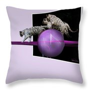 Breaking Out White Tigers Throw Pillow