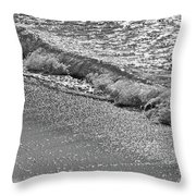 Breaking Wave In Black And White Throw Pillow