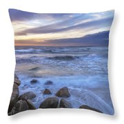 Breaking Waves At Old Silver Beach Throw Pillow