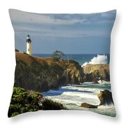 Breaking Waves At Yaquina Head Lighthouse Throw Pillow