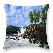 Breaking Waves Painting Throw Pillow