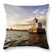 Breakwater Lighthouse Throw Pillow