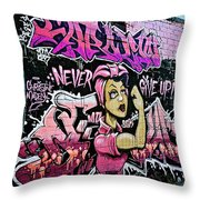 Breast Cancer Awarness Never Give Up Throw Pillow
