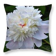 Breathtaking - Festiva Maxima Double White Peony Throw Pillow