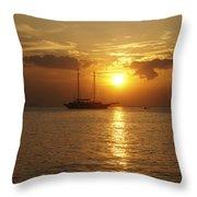 Breathtaking Sailboat Ocean Sunset #0182 Throw Pillow