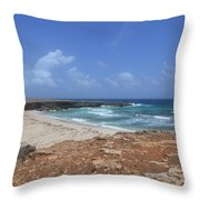 Breathtaking View Of Daimari Beach In Aruba Throw Pillow