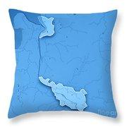 Bremen Bundesland Germany 3d Render Topographic Map Blue Border Throw Pillow
