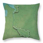 Bremen Bundesland Germany 3d Render Topographic Map Border Throw Pillow