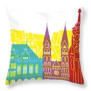 Bremen Skyline Pop Throw Pillow