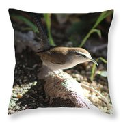 Breswick Wren On Tree Root 2 Throw Pillow