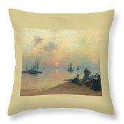 Breton Coastal Landscape At Sunset Throw Pillow