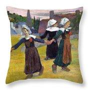 Breton Girls Dancing Pont-aven Throw Pillow