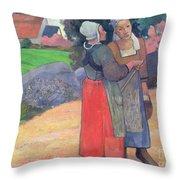 Breton Peasants Throw Pillow by Paul Gauguin