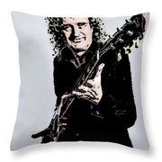 Brian May Of The Rock Group Queen Throw Pillow